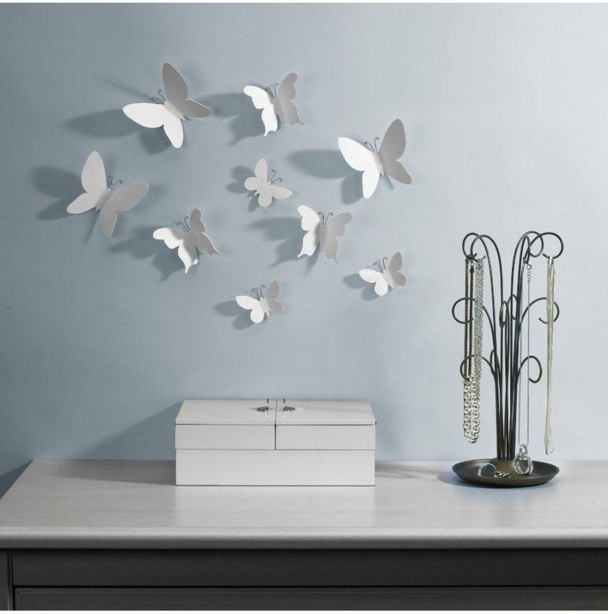 Wanddecoratie vlinders wit (set van 9)