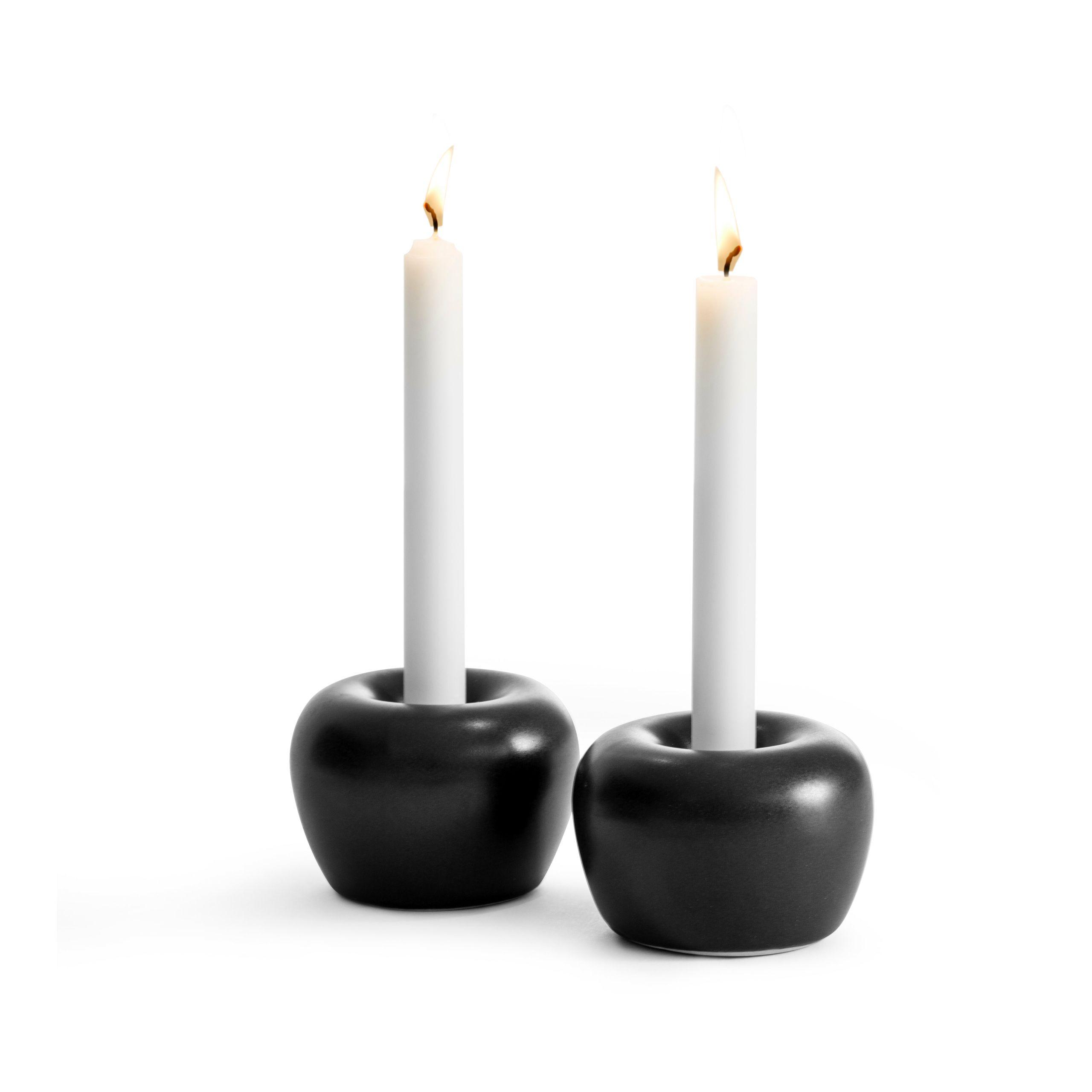 Born in Sweden Apple kandelaar ø 5cm - zwart - 2 stuks