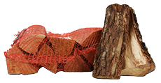 Eikenhout in netzakken