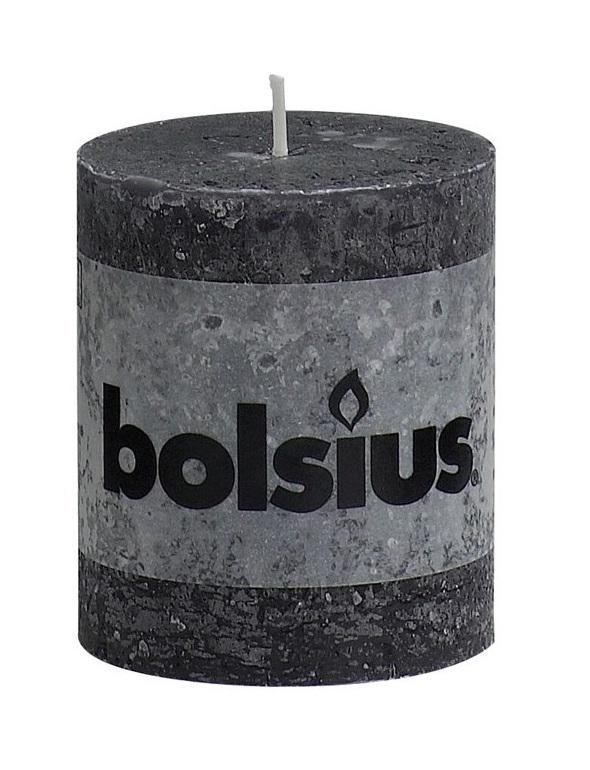 Bolsius stompkaarsen Rustiek antraciet 4 stuks