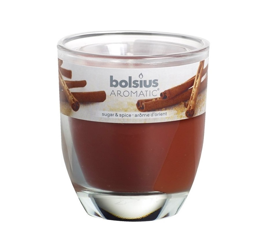 Bolsius geurkaars in glas Aromatic Sugar & Spice 80/70 mm