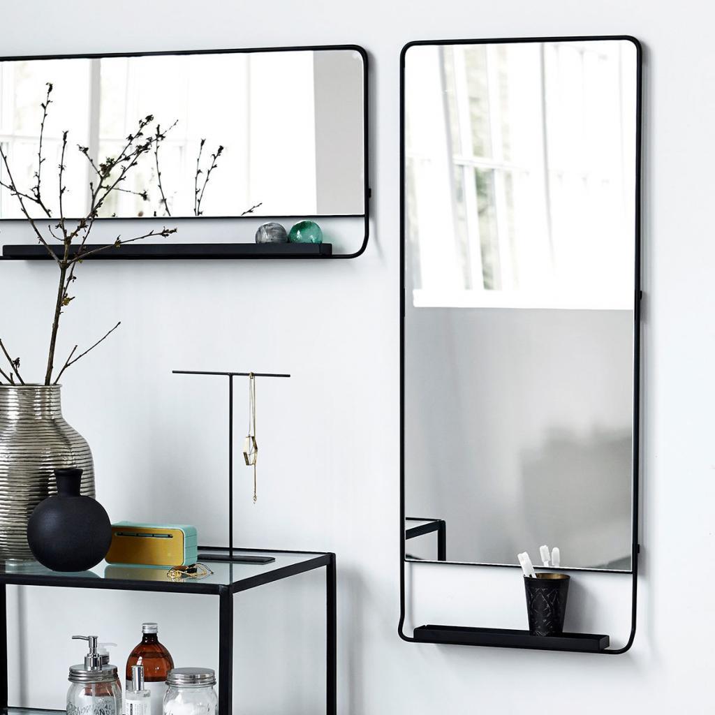 House doctor spiegel chic met plank zwart 45 x 110 cm for House doctor verlichting