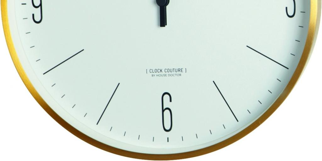 house doctor wandklok clock couture goud wit meubelen verlichting. Black Bedroom Furniture Sets. Home Design Ideas
