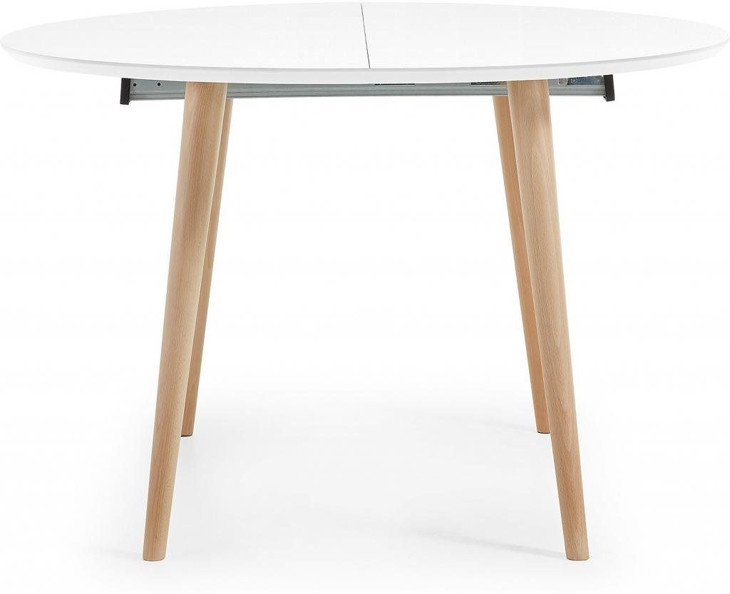 laforma eettafel oqui rond verlengbaar 120 200 x 120 cm wit la forma. Black Bedroom Furniture Sets. Home Design Ideas