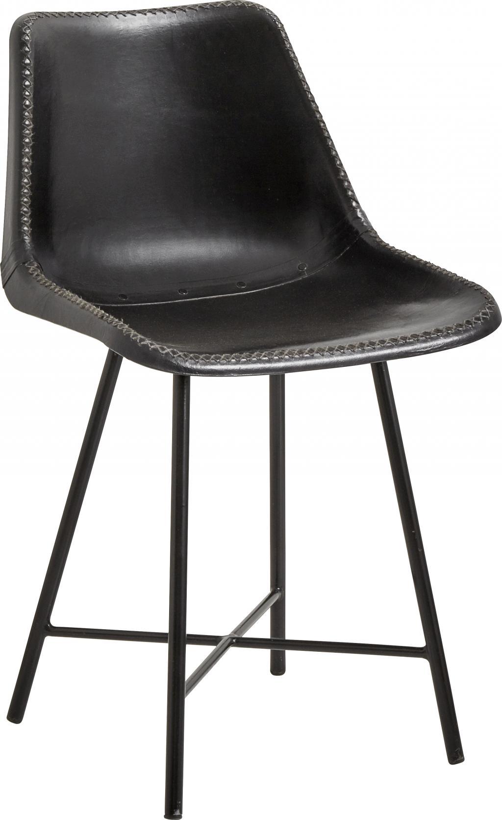 nordal stuhl leder schwarz 79x50 cm. Black Bedroom Furniture Sets. Home Design Ideas