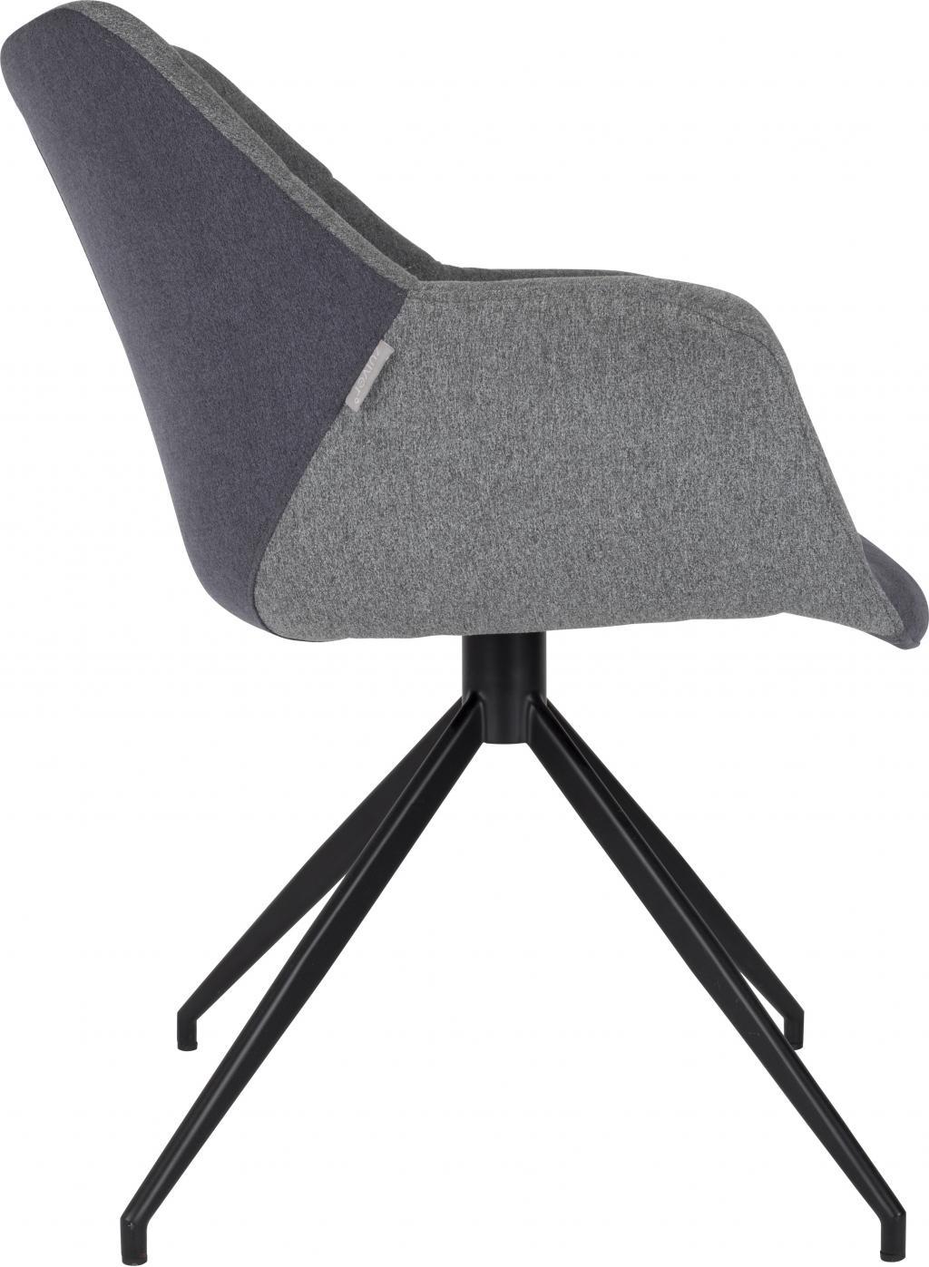 zuiver esszimmerstuhl doulton grau mit armlehnen. Black Bedroom Furniture Sets. Home Design Ideas