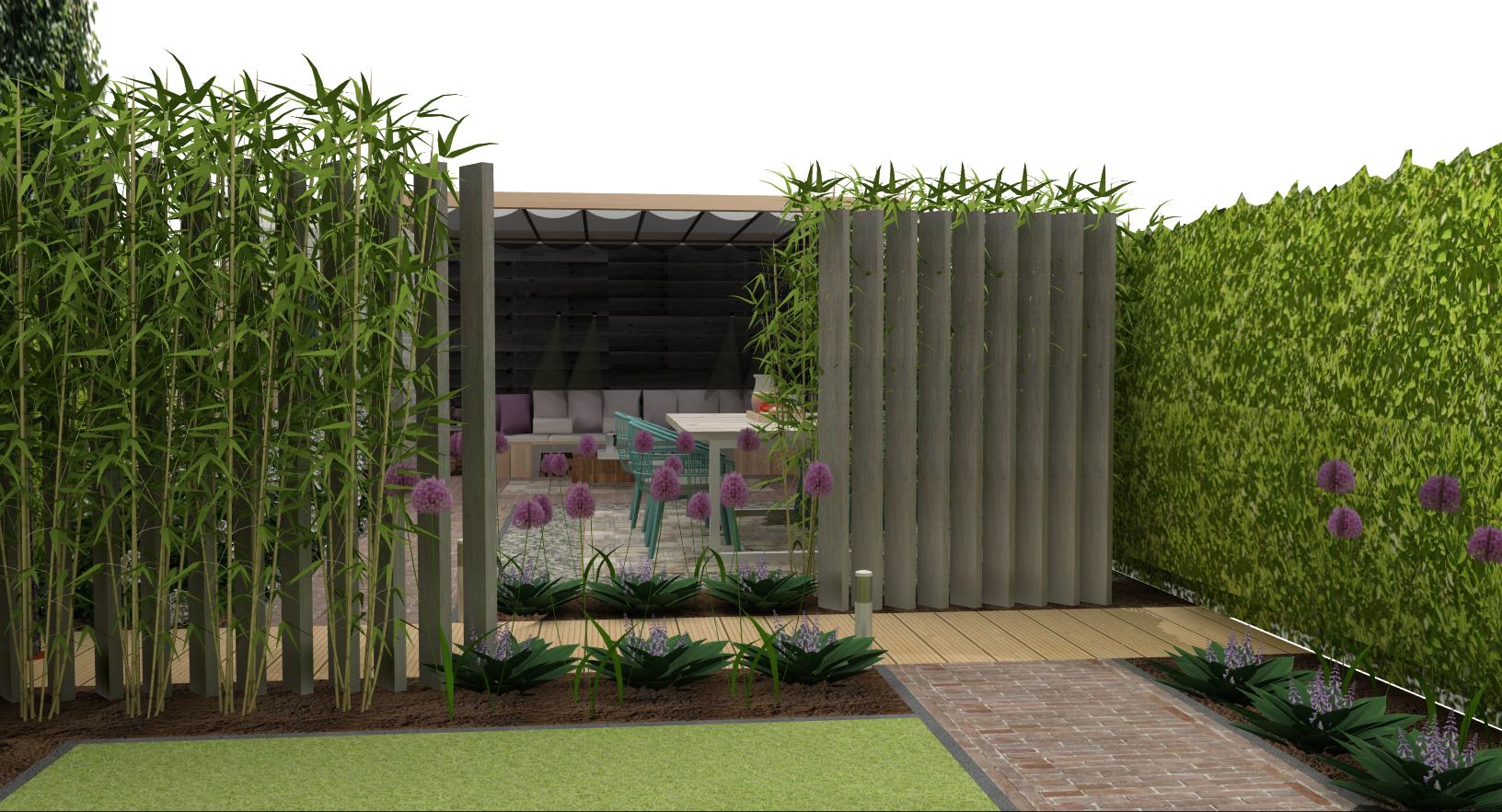 Standaard tuinontwerp ontwerp 3d schets beplantingslijst for Ontwerp tuin
