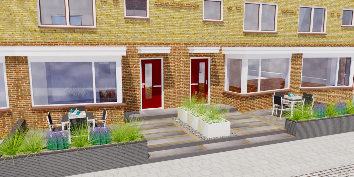 Tuinontwerp middelgrote tuin vrijstaande woning for Tuinontwerp kleine tuin strak