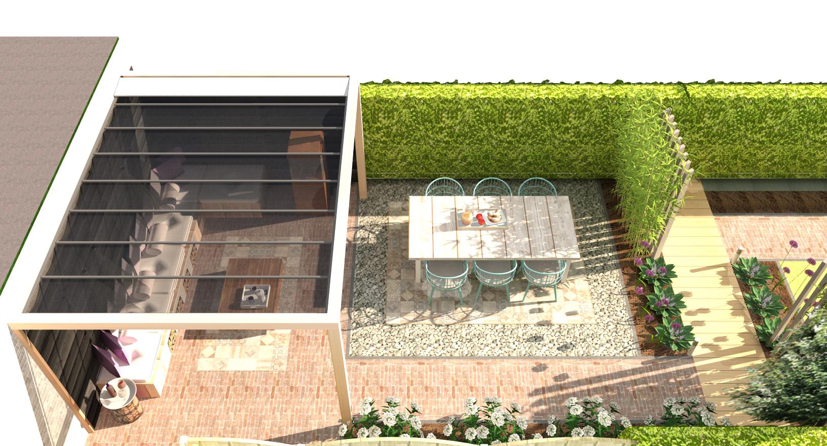 Tuinontwerp achtertuin - Modern Japanse stijl bovenaanzicht