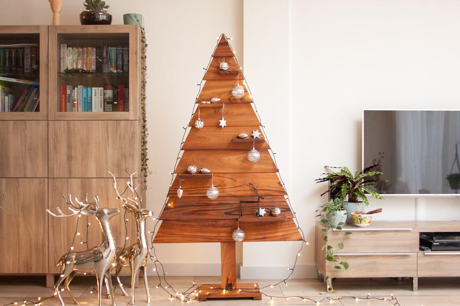 houten kerstboom tigerwood kerstversiering