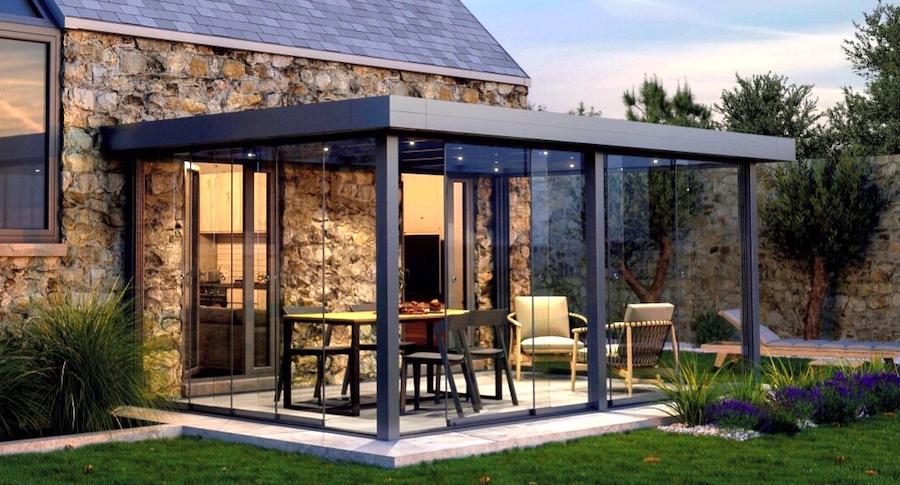 Aluminium overkapping met plat dak