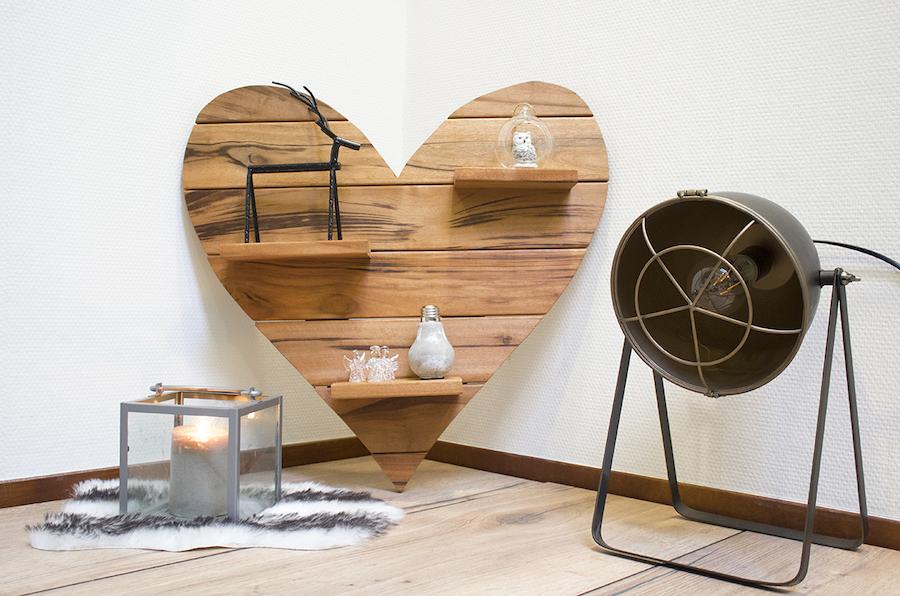 Tigerwood houten hart groot