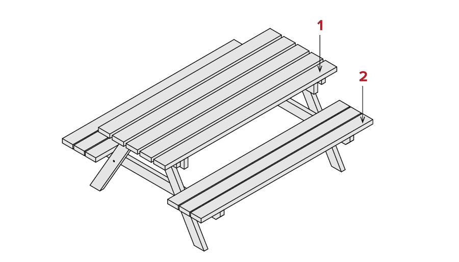 Picknicktafel maken deel 2