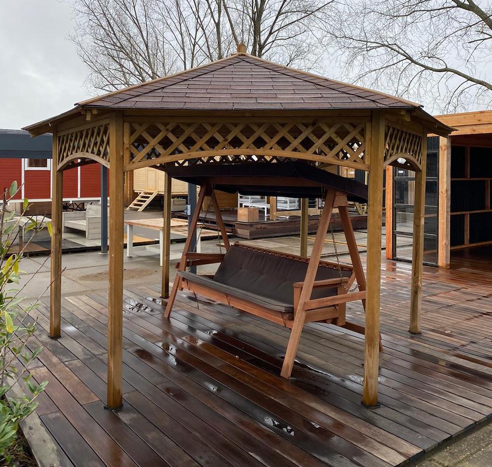 tuin prieel bouwen hout