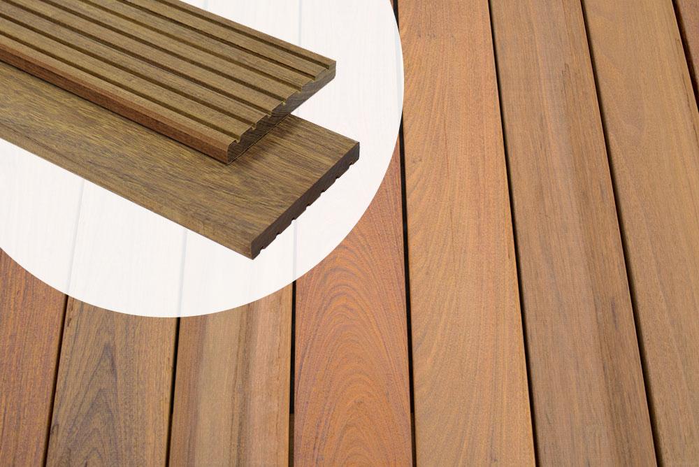 Angebot Terrassendiele Ipe Hartholz 1 8 X 14 X 180 Cm Glatt Rillen Premium Fas Quality