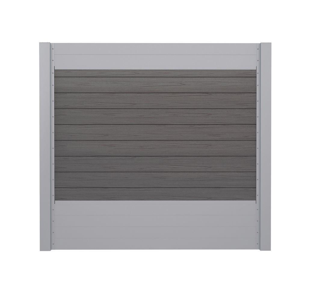 Sichtschutzzaun Set Wpc Silbergrau Und Alu Silber 180 Cm Hoch