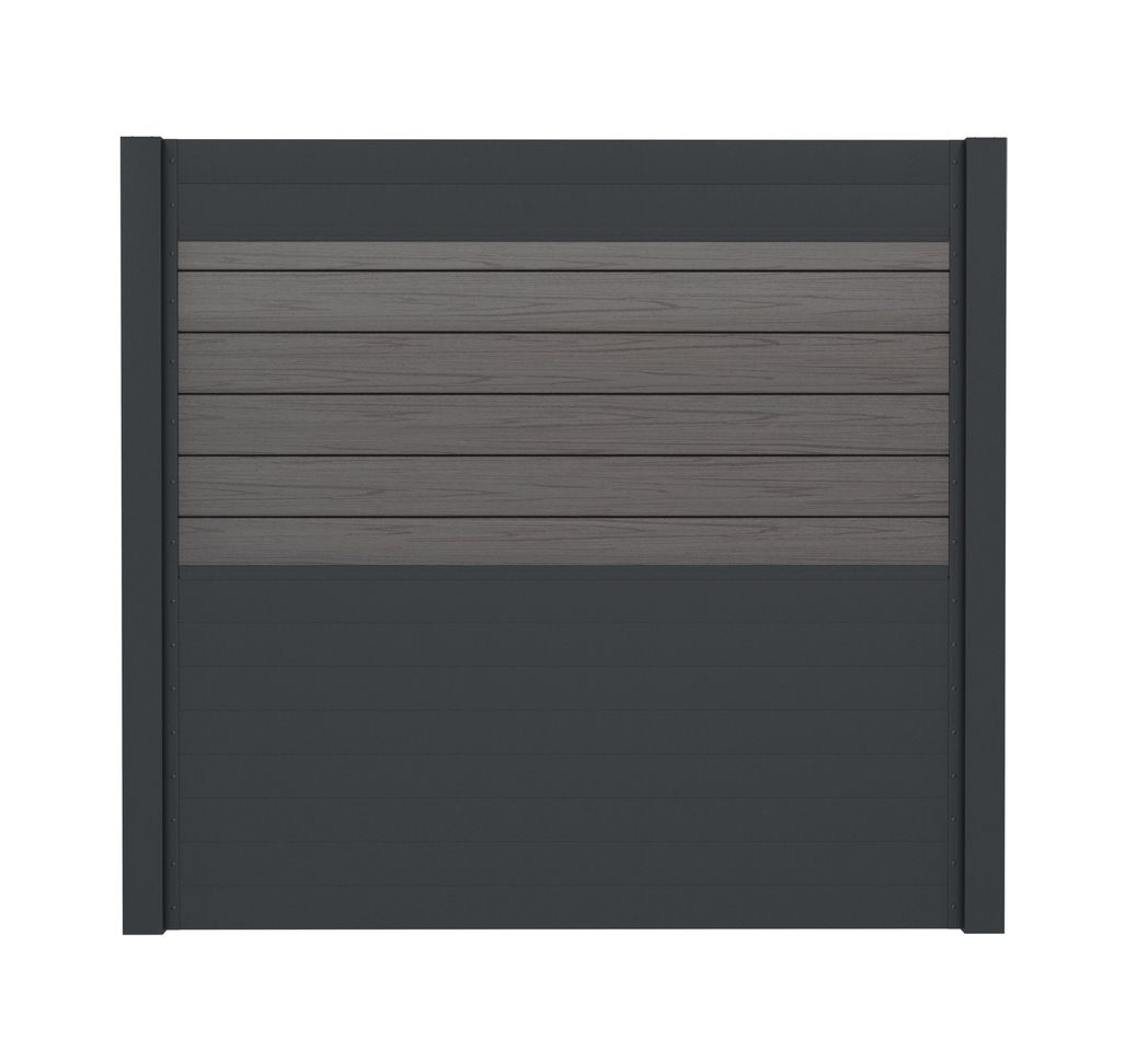 Sichtschutzzaun Set Wpc Silbergrau Und Alu Anthrazit 180 Cm Hoch