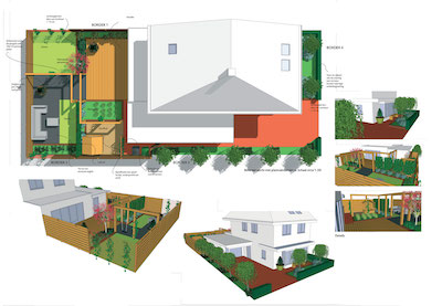 Standaard tuinontwerp ontwerp 3d schets beplantingslijst en ma