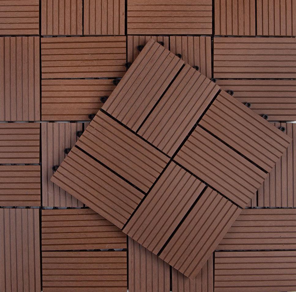 Kunststof Terrastegels 50x50.Tuintegel Composiet Koffie Bruin 30 X 30 Cm