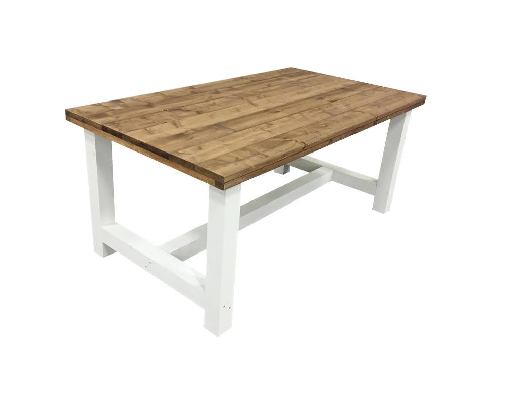 Witte Eettafel 160.Tafel Bruin Blad Wit Onderstel Kloostertafel