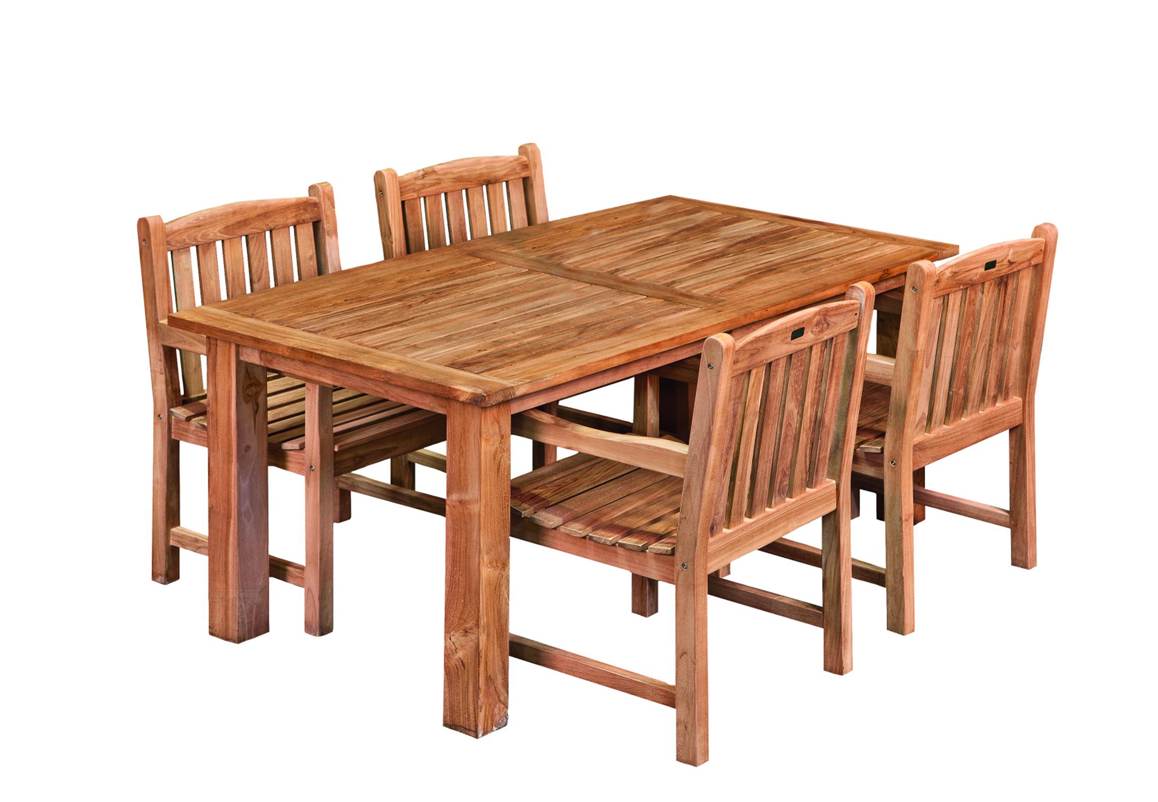 Eettafel Stoelen Modern.Dinner Set Teak Hardhout Modern 180 X 90 Cm Met 4 Stoelen