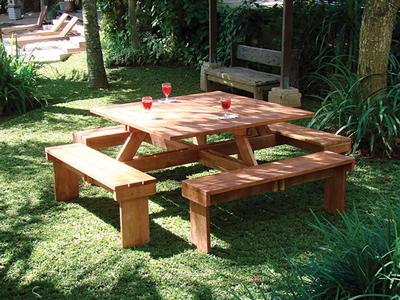Picknick Tafel Stevig.Hardhouten Picknicktafel Vierkant 210 X 210 X 75 Cm