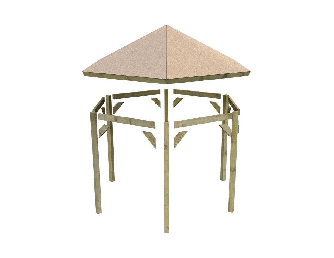 """Kiosque En Bois Hexagonal kiosque de jardin en bois """"madrid"""" karibu 291 x 349 x 302 cm bois imprégné"""