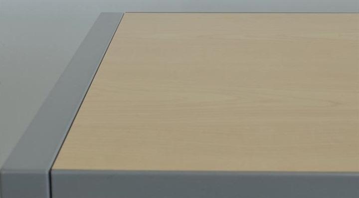 Gispen Meta Roldeurkast Zilvergrijs 120 x 120 x 47 bovenblad esdoorn