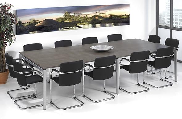 Vergader - conferentietafel aluminium onderstel en antraciet eiken kleurig blad 320x160cm