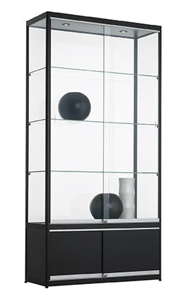 Vitrinekast Met Onderkast 200x80x40cm Zwart Of Aluminium
