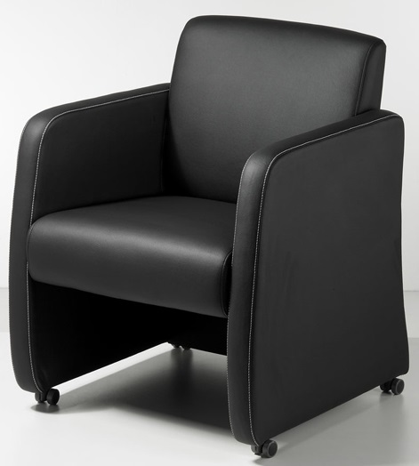 Clubfauteuil zwart leatherlook 1
