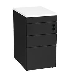 Aanbouwladenblok zwart pennenlade 2-laden en dossierlade topblad 80x60cm