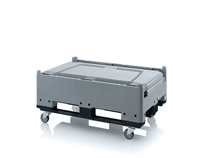 Pallet box inklapbaar met 4 wielen en 3 sledes 120 x 80 x 114 cm