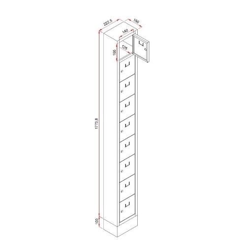 Lockerkast PEL 9-deurs 188 x 22 x 15cm Grijs 1