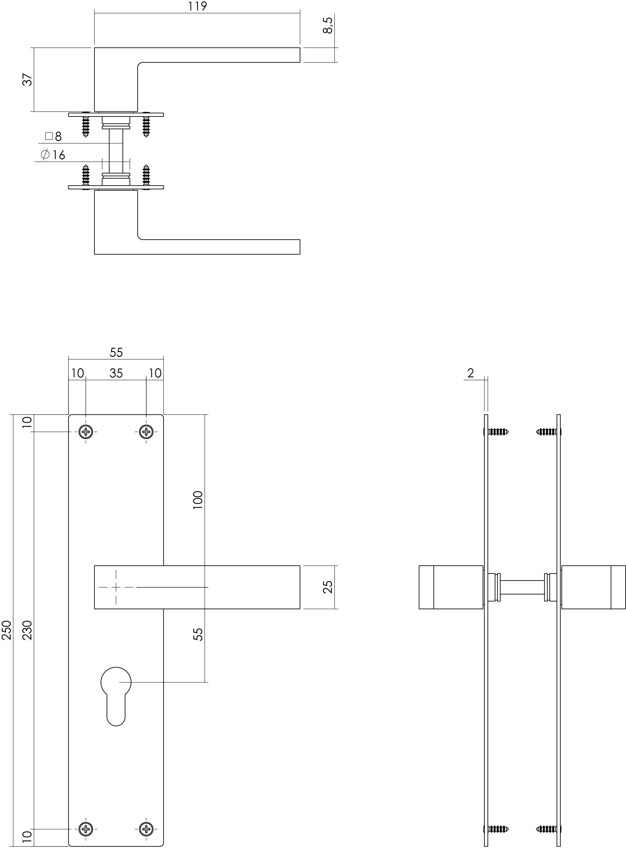 Intersteel Deurkruk Amsterdam met schild 250x55x2mm profielcilindergat 55mm zwart