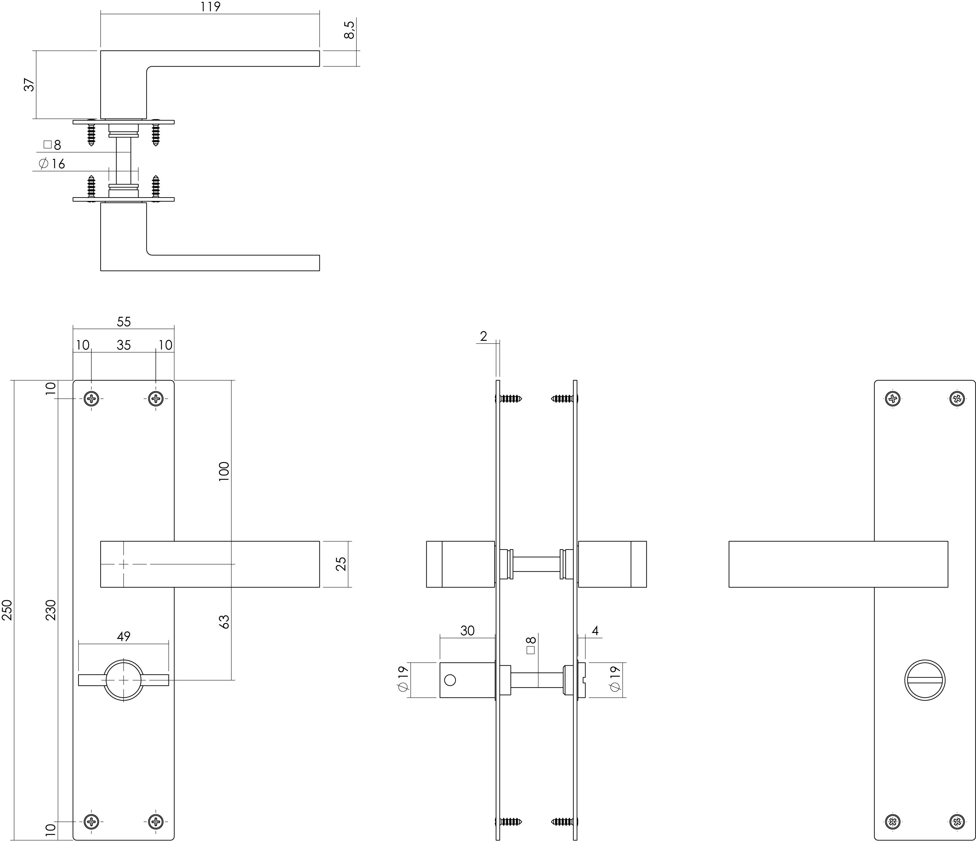 Intersteel Deurkruk Amsterdam met schild 250x55x2mm WC63/8 zwart