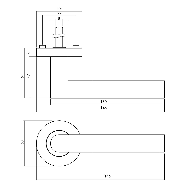 Intersteel Deurkruk Bastian op rozet ø53x8mm zwart