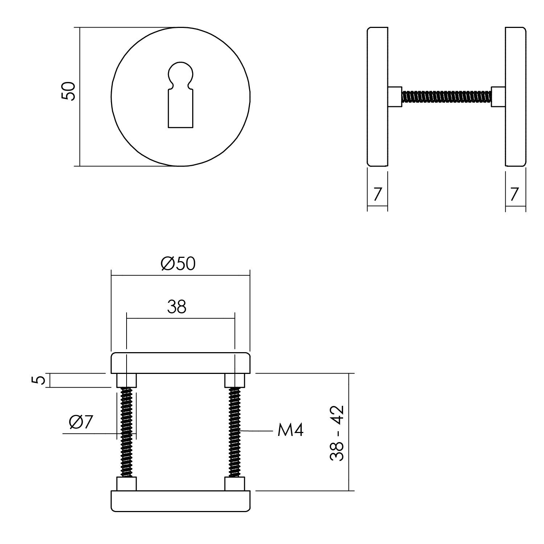 Intersteel Rozet sleutelgat ø50x7 mm aluminium zwart
