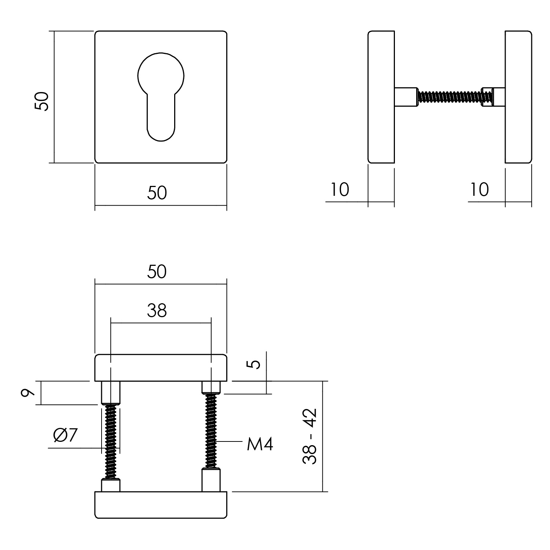 Intersteel Rozet profielcilindergat 55x55x10 mm aluminium zwart