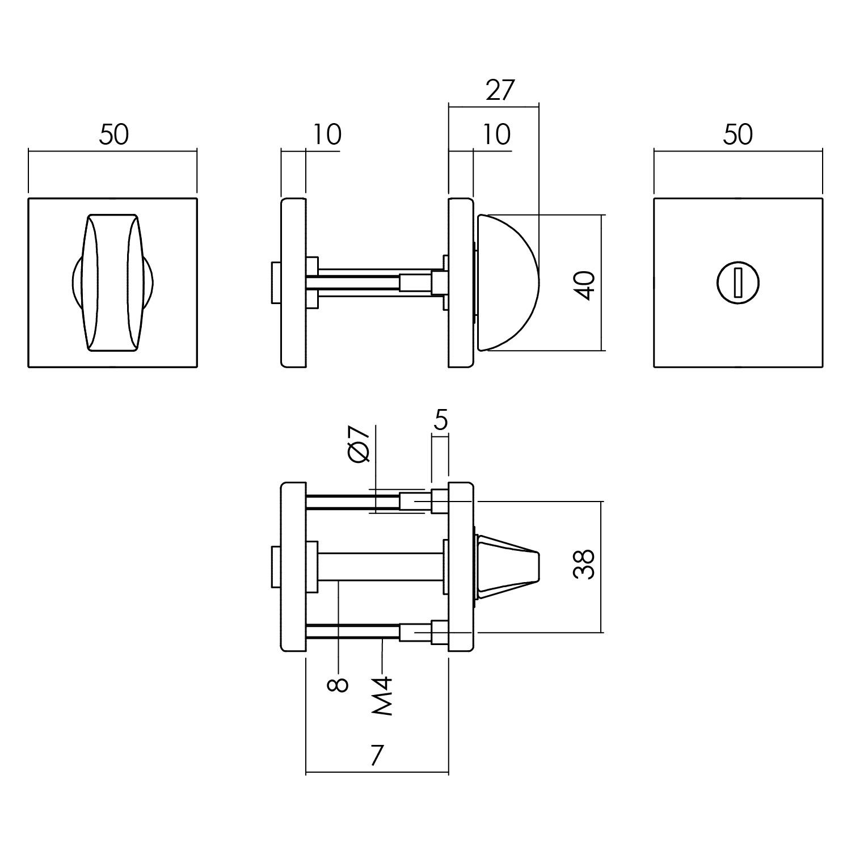 Intersteel Rozet toilet-/badkamersluiting 55x55x10 aluminium zwart
