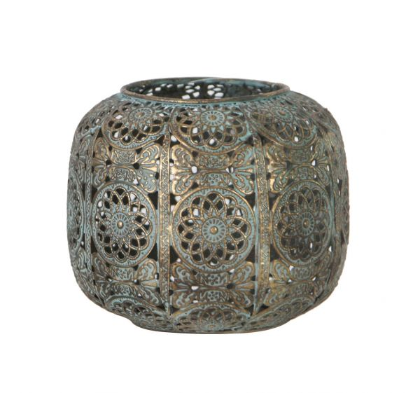 Candle holder metal 13x13x11cm