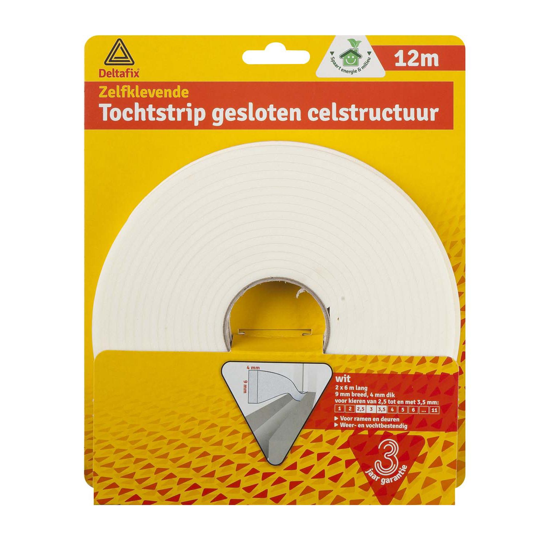 Deltafix Tochtstrip Gesloten Celstructuur Wit | 12m x 9mm x 4mm