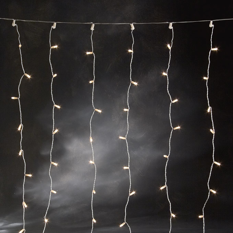 Microlight Gordijn gelijke strengen, bxh 2x1m, 160 warmwitte lampjes