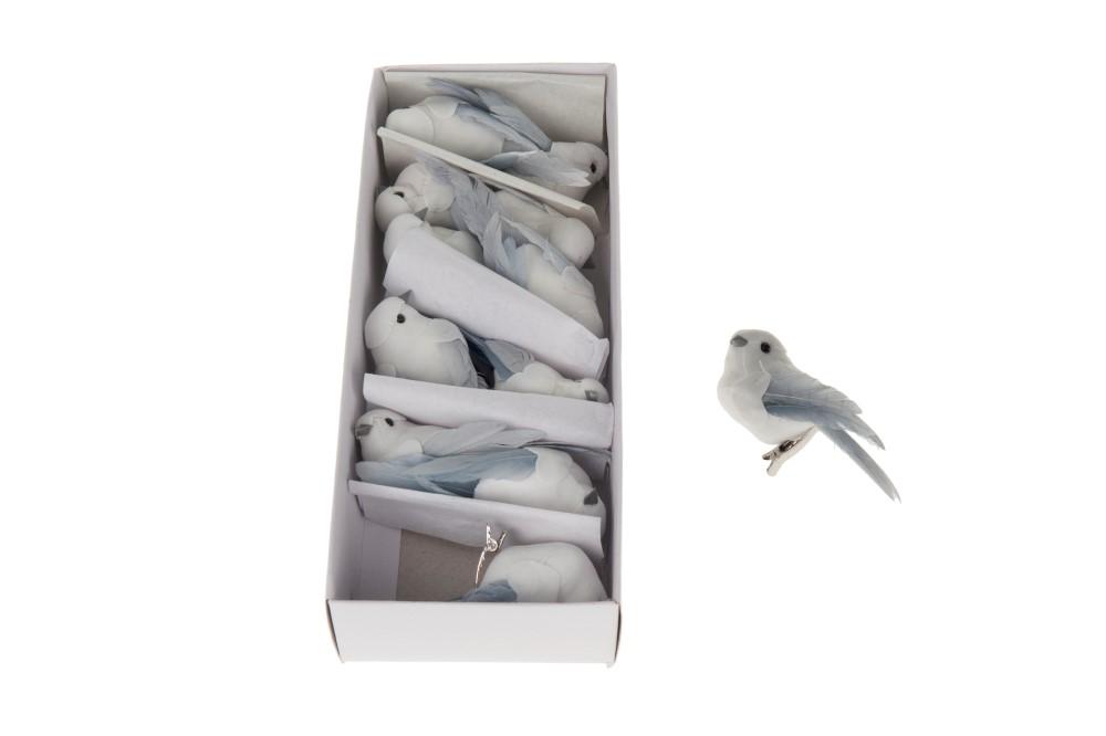 Dijk Natural Collections Vogel op Clip Wit 12 Stuks