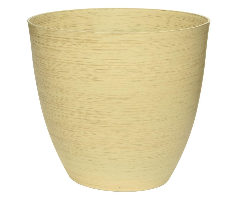 Bloempot Geel Creme Strepen 32 x 30 cm