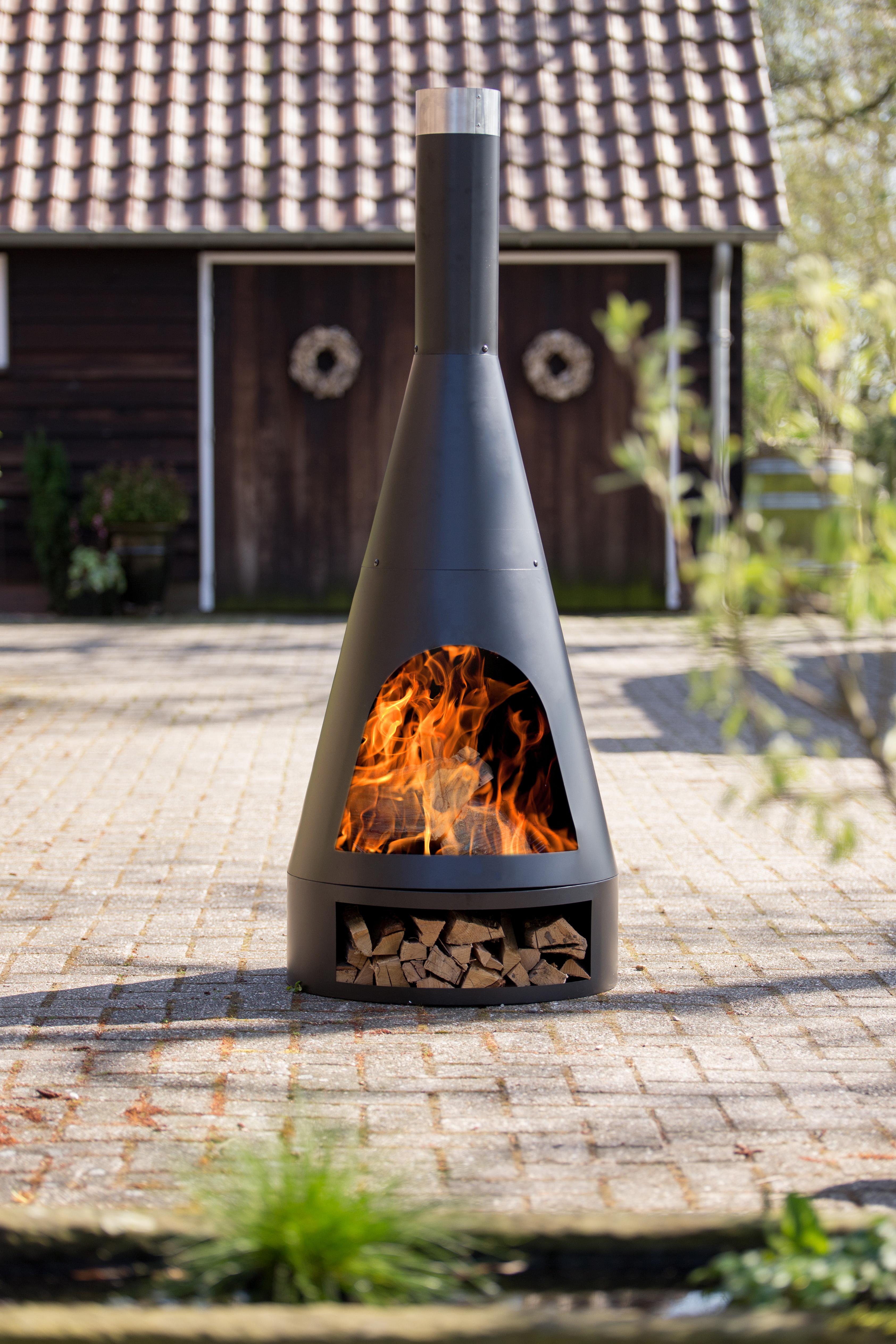 RedFire Terrashaard Fireplace Kingston Medium met Houtopslag