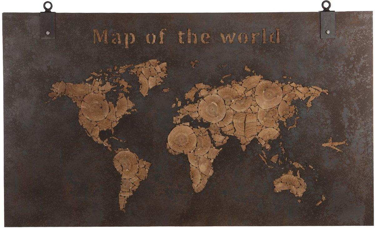 Dijk Natural Collections | Houten Wanddecoratie Wereldkaart 140 x 80 cm