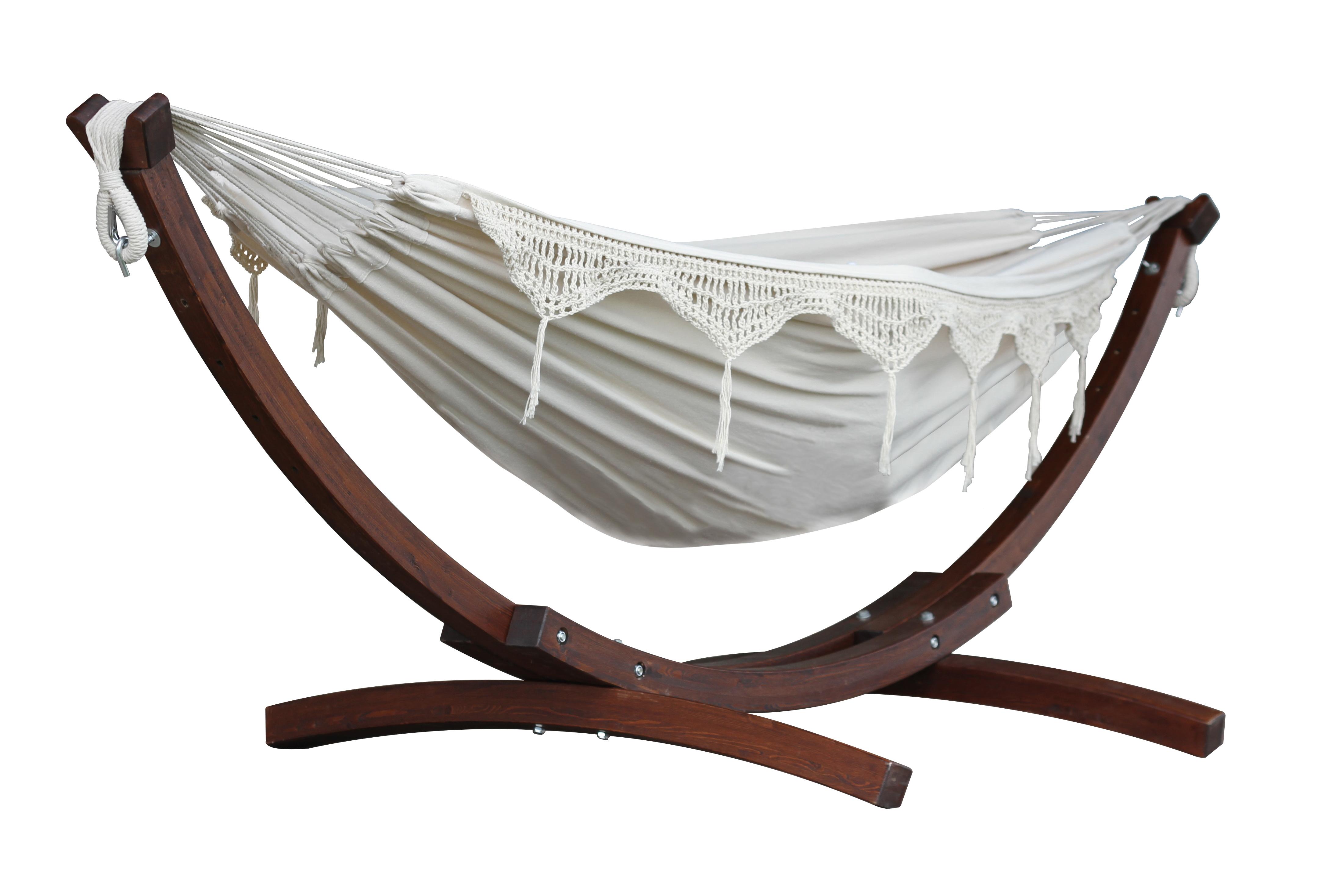 2 Persoons Hangmat Met Houten Standaard.Vivere Combo Dubbele Katoenen Hangmat Met Massief Houten Standaard Naturel
