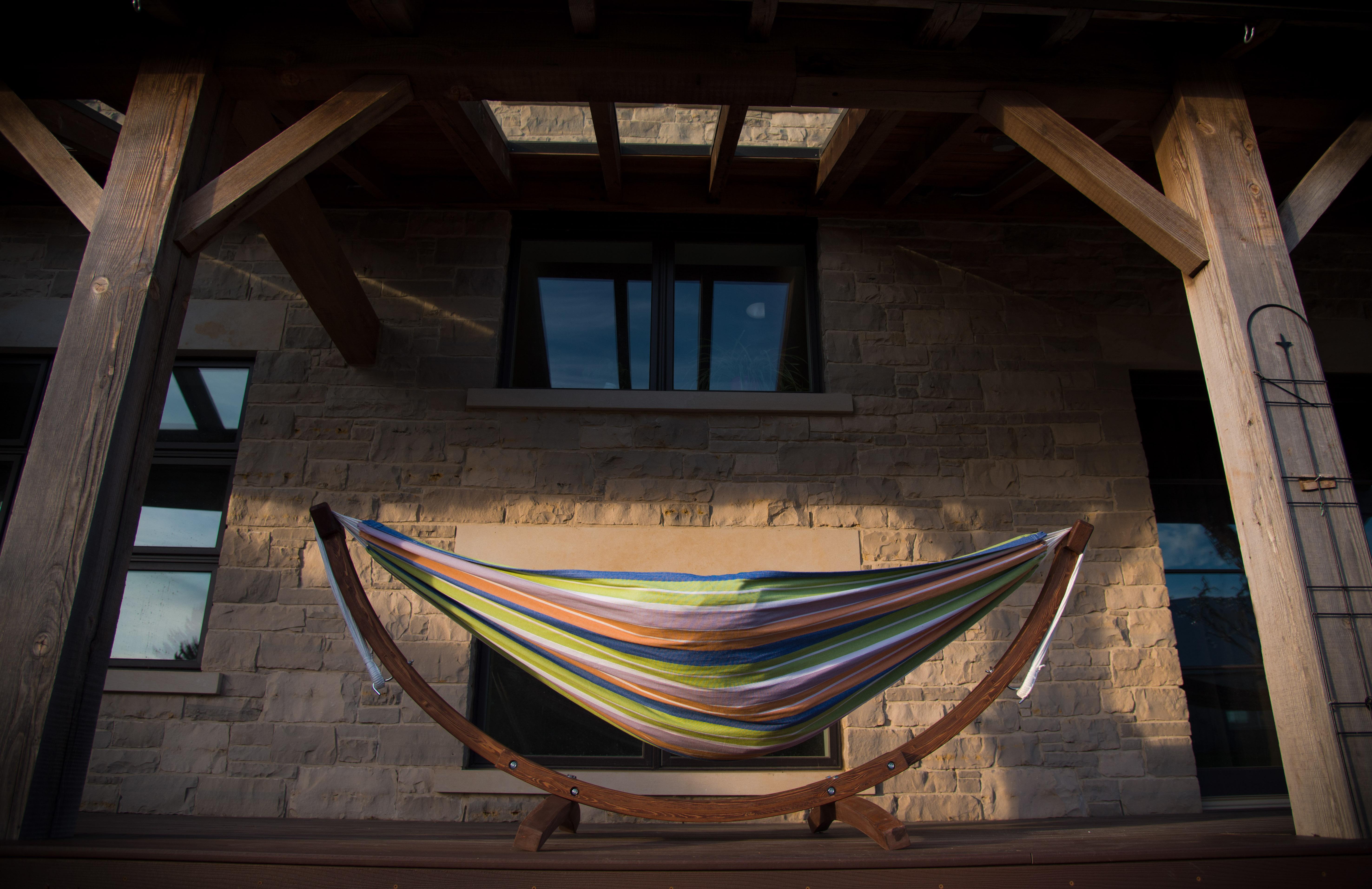 Vivere Combo Dubbele Katoenen Hangmat met Massief Houten Standaard | Retro