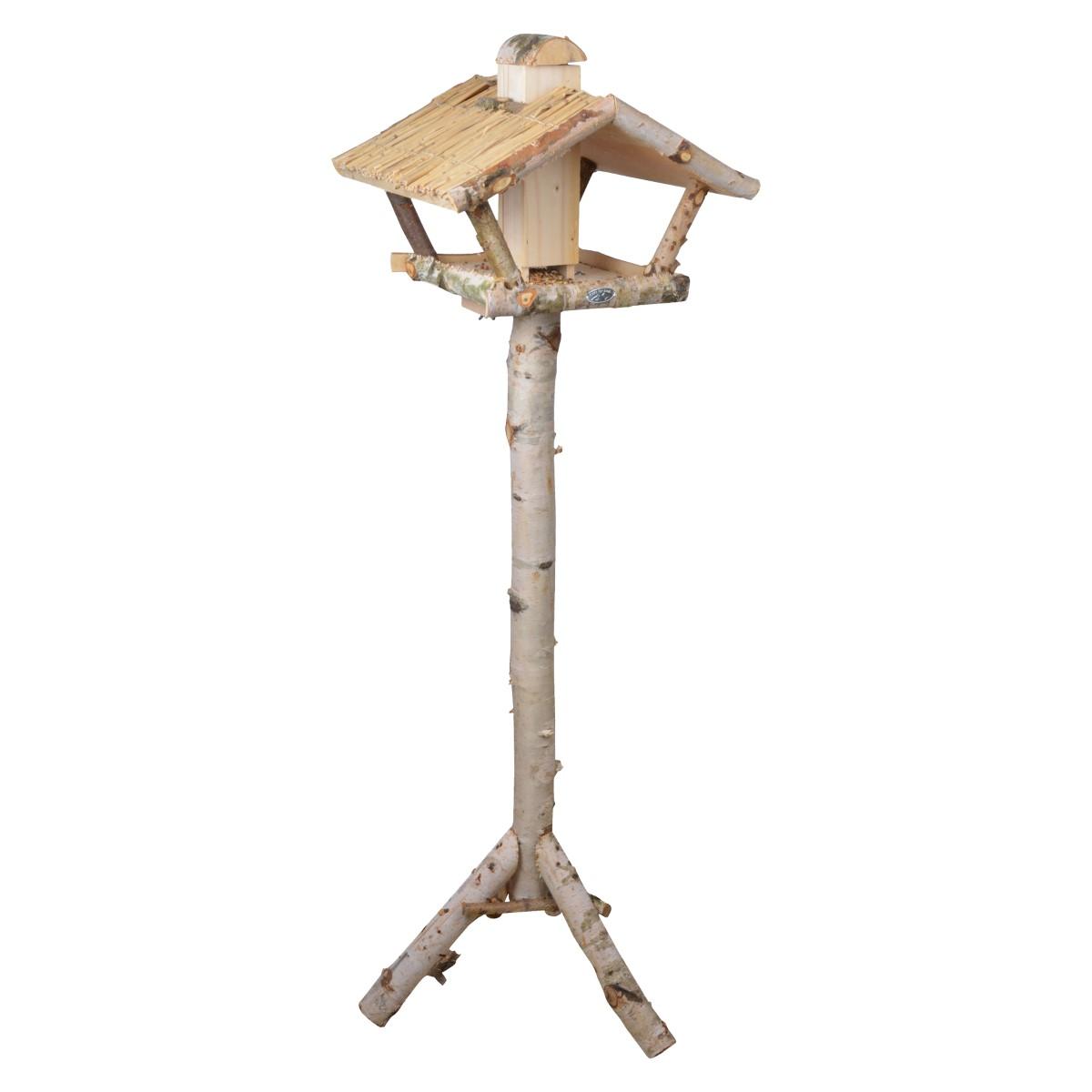 Voedertafel met silo op paal berken